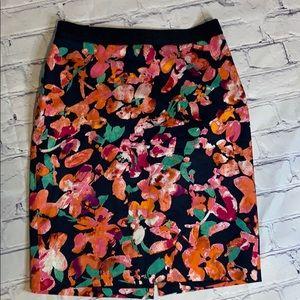 Ann Taylor Navy floral skirt
